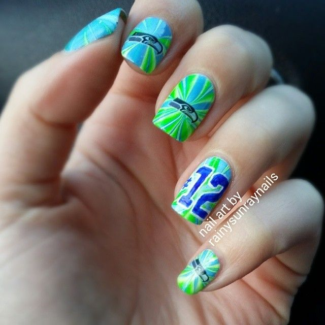 13 best Seattle Sea Hawks Nails images on Pinterest | Nail art kits ...