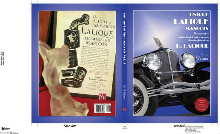"""The second (Vol 2) of the title:""""Unique Lalique Mascots"""" sub title:""""The automotive radiator hood & desk ornaments of master glass artisan R. Lalique (including auction realisation prices with market values guide)"""" by G. G. Weiner with a Foreword by (the present) Lord Montagu of Beaulieu and a Preface by the BBC Antiques Roadshow expert Eric Knowles.  Produced and published by The Grosvenor House Publishing Co. Ltd. In a deluxe hardback edition at £35 + £3 pp inland, £5 Europe and £10…"""