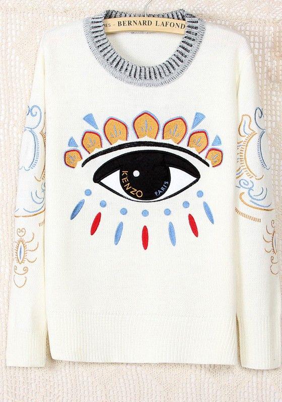 White Eyes Round Neck Long Sleeve Acrylic Sweater