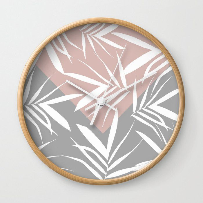 Pinkrose Pink Rose Pink Grey Gray White Christmas Xmas Holidays Holiday Winter Snow Digital Pattern Merr White Wall Clocks Leaf Decor Youth Decor