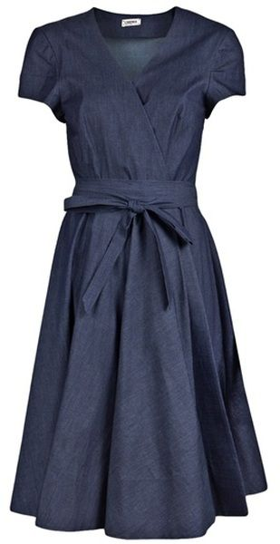 I will have to make this myself -.- (L'Agence Denim Wrap Dress - Lyst)