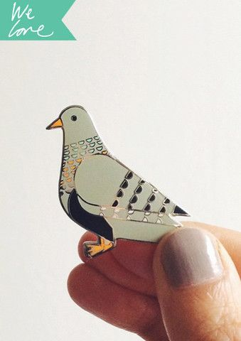 Limited edition Pigeon enamel pin. Available from scouteditions.co.uk. Designed and made in the UK.