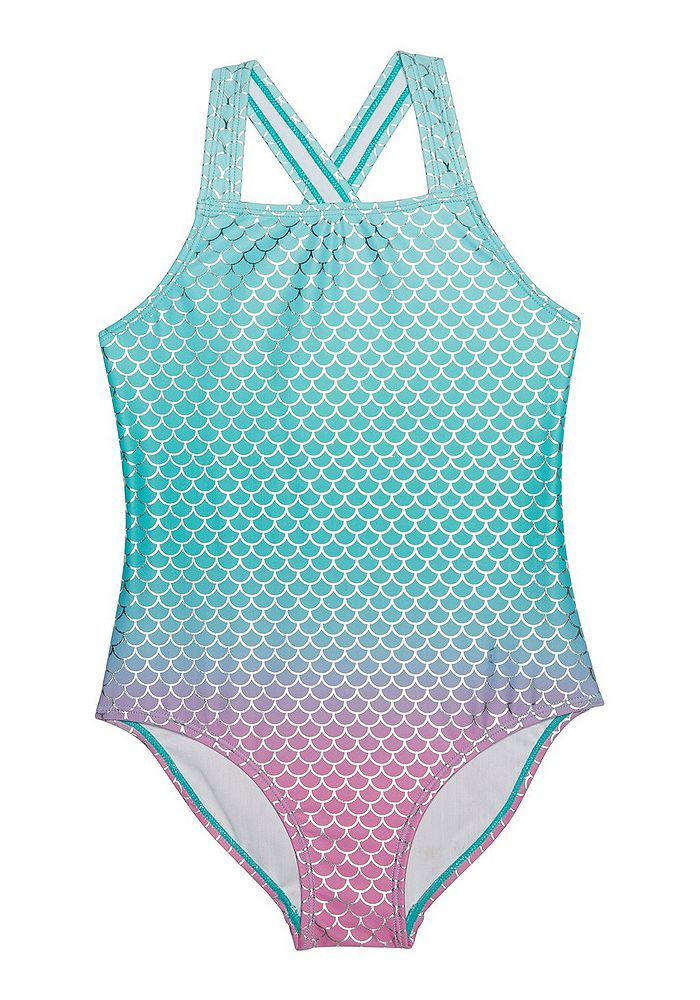 277880e1616 Tesco direct: F&F Ombre Mermaid Foil Swimsuit | mermaidia | Swimwear ...