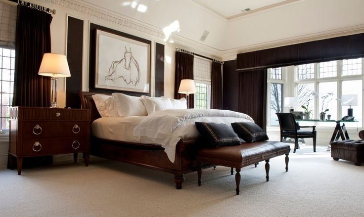 Dark Cherry wood furniture and rich velvet curtains are complemented by a simple framed sketch of a horse above the bed.