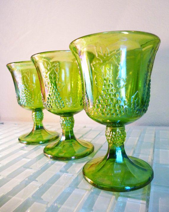 3 Vintage Green Carnival Glass Wine Goblet Indiana Glass Company Iridescent Grape Harvest Rainbow Blue via Etsy