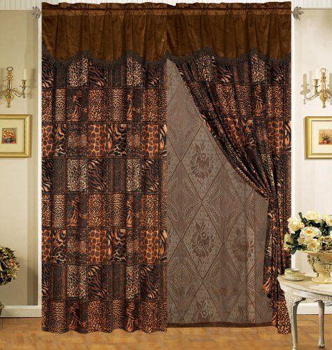 Safari Brown Fur Curtain Set Curtains And Drapes