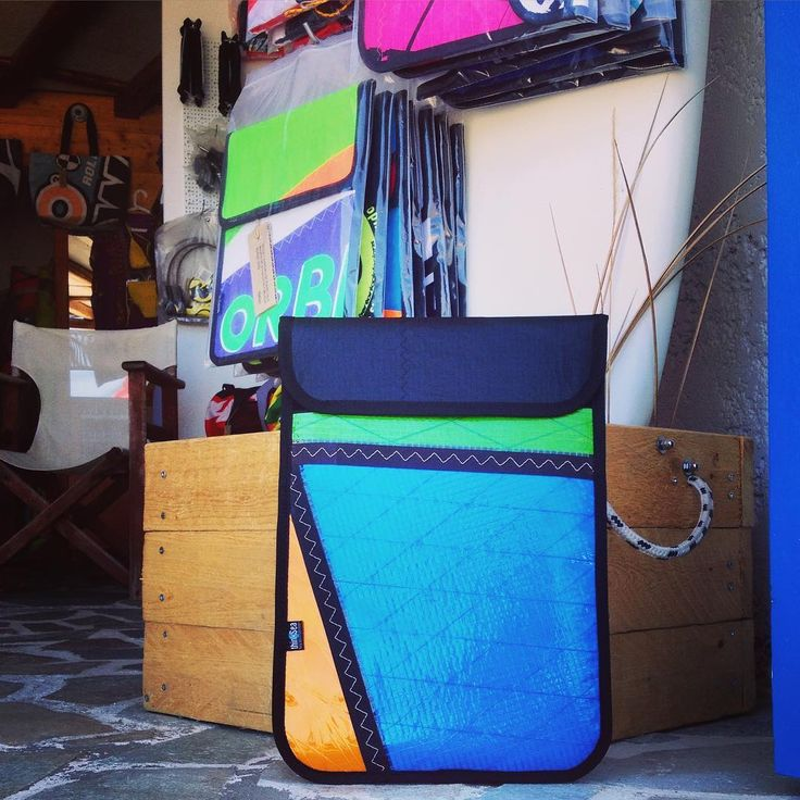 Custom made vertical laptop case for easy access inside your backpack. Which color suits you the most? #laptop #case #thinksea #unique #handcraft #used #reused #recycle #upcycling #upcycled #urban #customize #parosurfclub #parosurfshop #tserdakia #paros #summer #colorful #shopping #madeingreece #windsurfing #sails #kiteboarding
