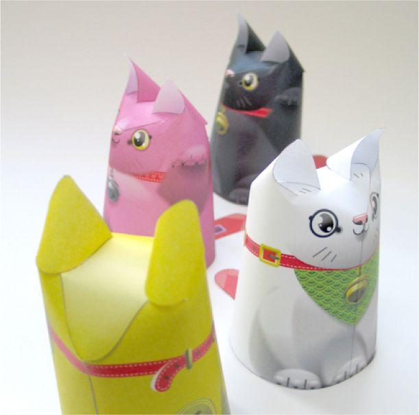 Blog Paper Toy papertoys Maneki Neko pic Chats porte bonheur en papertoy (x 4)