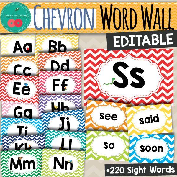 Chevron Word Wall - Editable