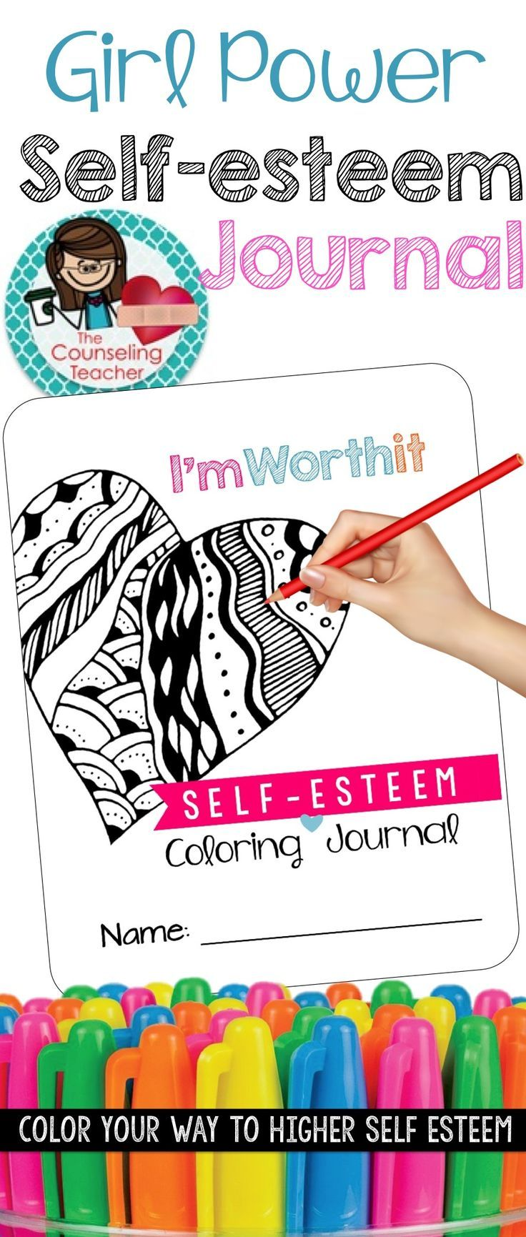 This self-esteem activity pack includes a positive affirmations themed coloring book and a daily happies journal.