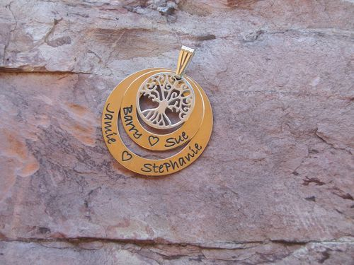 Gold filed family circle stack - Gold filed large circle 34mm and medium circle 25mm with Gold Plated  tree of life 18mm pendant. Ol,y from Sweet Sweet Silver. $193.00 #personalisedjewellery #mothersday