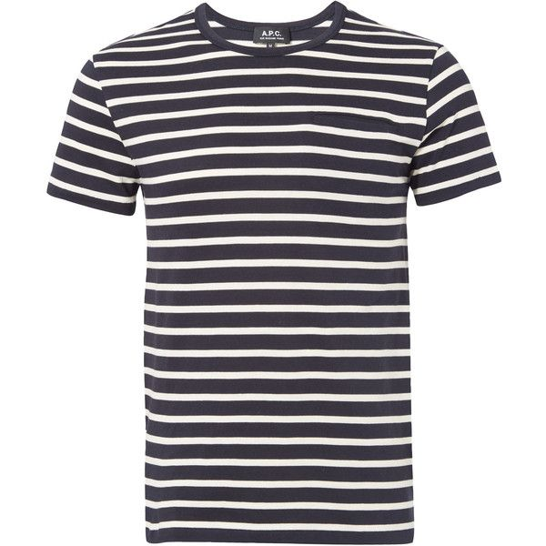 A.P.C. Navy Striped T-Shirt (4,665 DOP) ❤ liked on Polyvore featuring men's fashion, men's clothing, men's shirts, men's t-shirts, tops, mens striped t shirt, mens straight hem shirts, mens crew neck t shirts, old navy mens t shirts and mens striped shirt