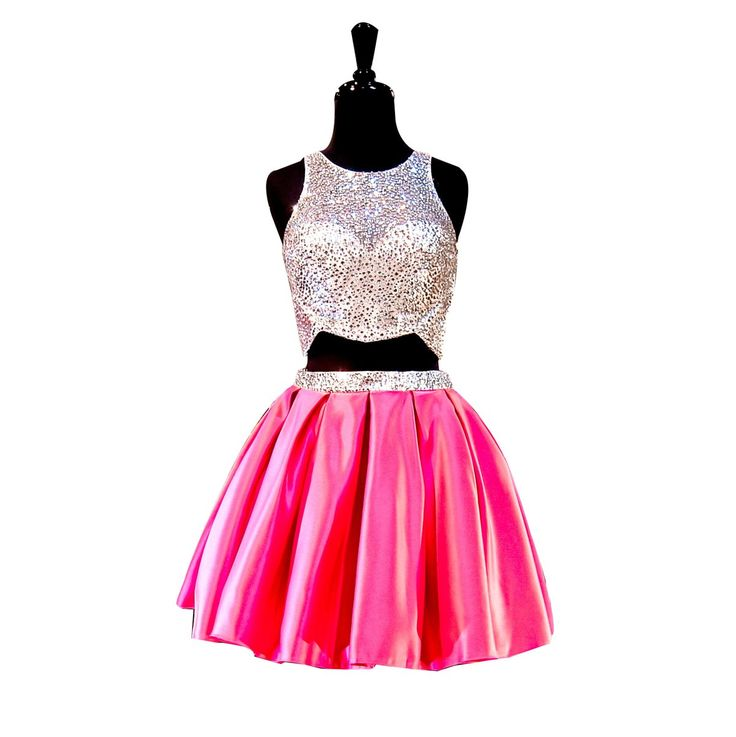 LISA.MOON Women's Jewel Beading Two Pieces Short Homecoming Dance Dress Hot Pink US16. 1.Satin,Beading,Crystal. 2.Jewel;Sleeveless;Zipper Back,Backless;Two Pieces;A Line;Short,Mini,Knee Length. 3.Made to Order!You can give us your size!(BUST,WAIST,HIP,HOLLOW TO FLOOR)When getting your order,we will contact you to make sure you have chosen the right measurements.If no reply,we will do it as our size.Thank you!. 4.The real color of the item may be different from the pictures shown on…