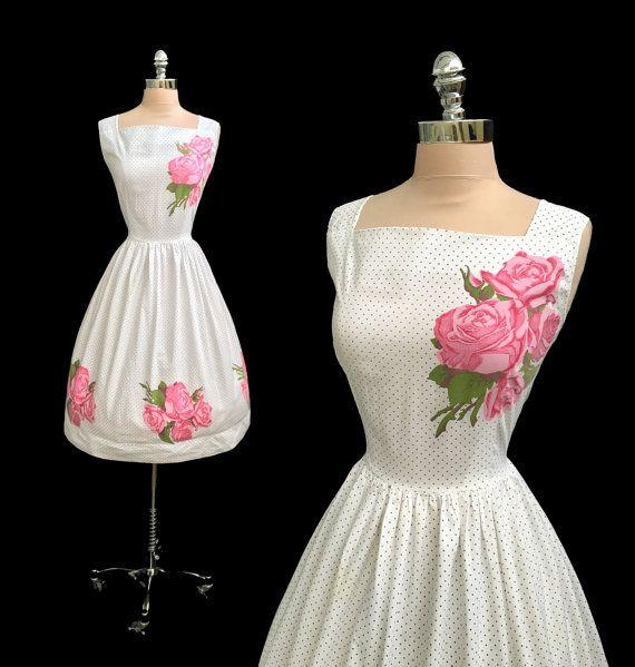 Vintage 1950s Pink Roses Polka Dot Cotton Full Skirt Garden Party Dress XL