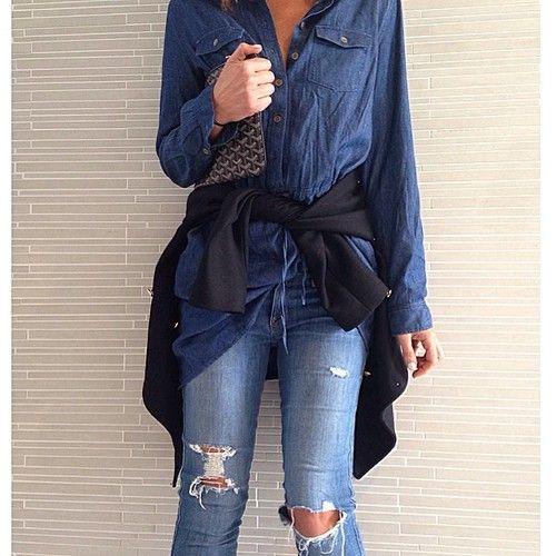 My love of denim continues #mixapparel shirt #genetic jeans #Goyard #Burberry #doubledenim by tashsefton