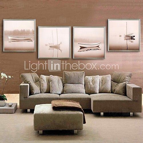 arte lienzo enmarcado, barco lago enmarcado lona de ajuste de impresión de 4…