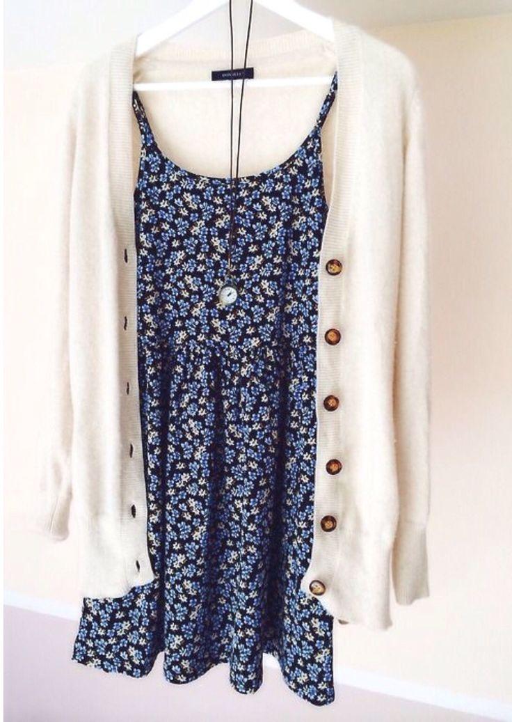 Long cardi over floral dress