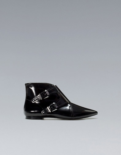 POINTED FLAT ANKLE BOOTS WITH BUCKLES - Shoes - Woman - ZARA