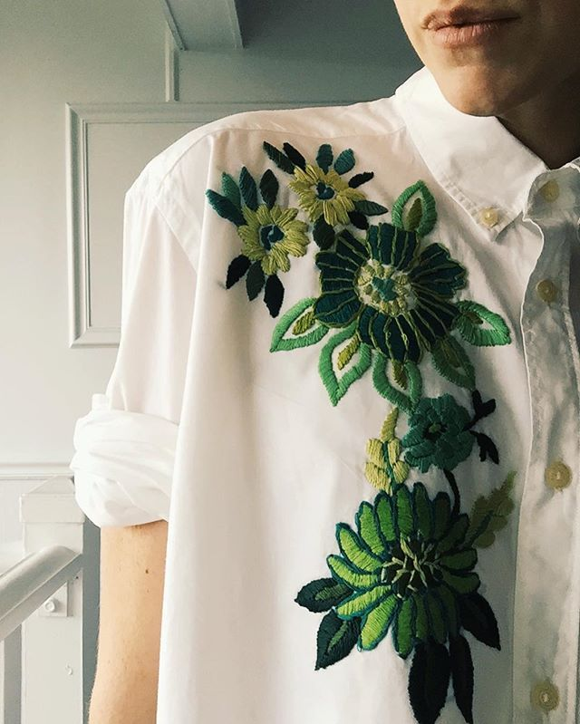 Up-cycled oxford on etsy w/Green floral ✨ #embroidery #♻️ #oneofakind