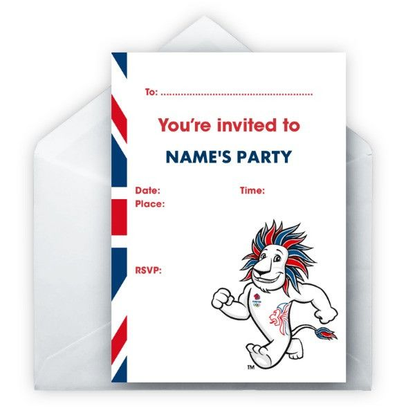 Personalised Team GB Party Invitations - Pack of 8