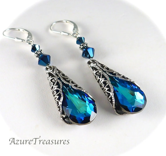 Victorian Crystal Earrings, Long Bermuda Blue Sapphire Earrings Antiqued Silver Romantic Long Vintage Style Jewelry