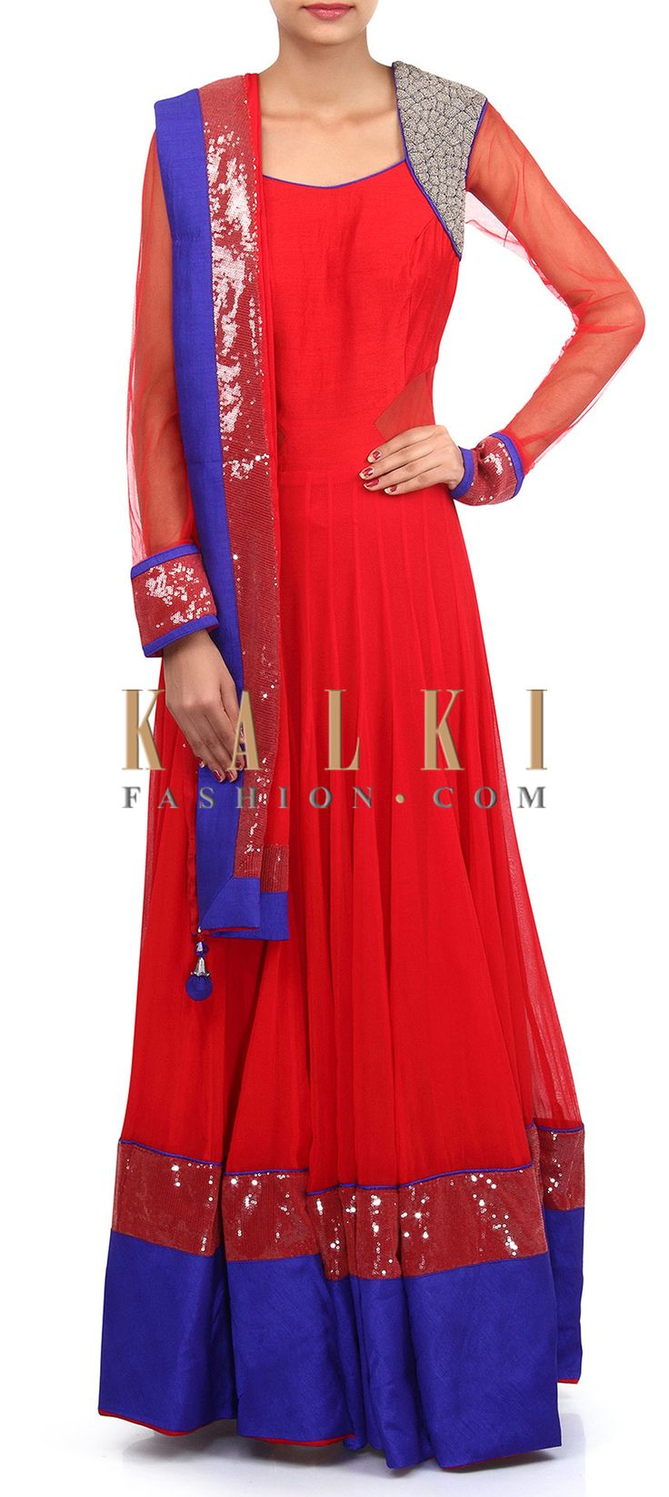 Buy Online from the link below. We ship worldwide (Free Shipping over US$100). Product SKU - 305680.Product Link - http://www.kalkifashion.com/red-anarkali-suit-adorn-in-zari-and-sequin-embroidery-only-on-kalki-18419.html