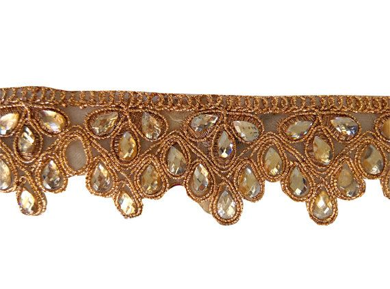 Gold #Embroidery #Lace #Trim #Fabric For #Wedding Dress by Shoppingover
