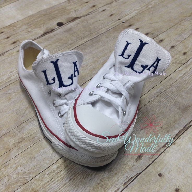 Monogrammed Youth Converse Low Top - Youth Converse - Low Top Converse - Monogrammed Low Tops - Youth Sizes - Personalized Shoes by SewWonderfullyMade4U on Etsy https://www.etsy.com/listing/257184582/monogrammed-youth-converse-low-top-youth