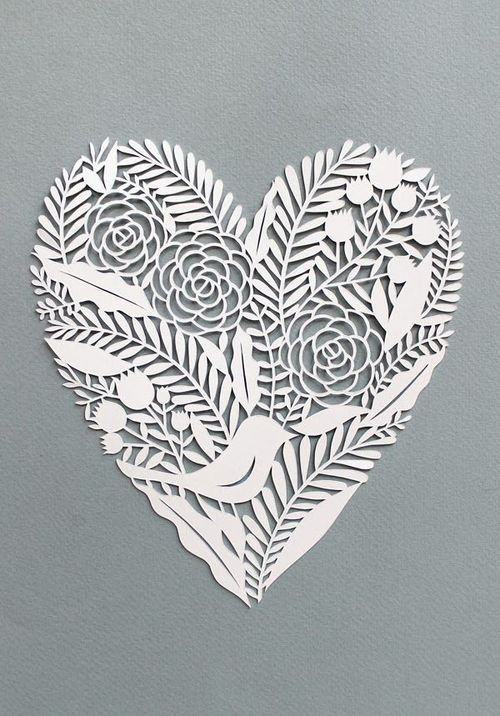 white paper cut-out heart