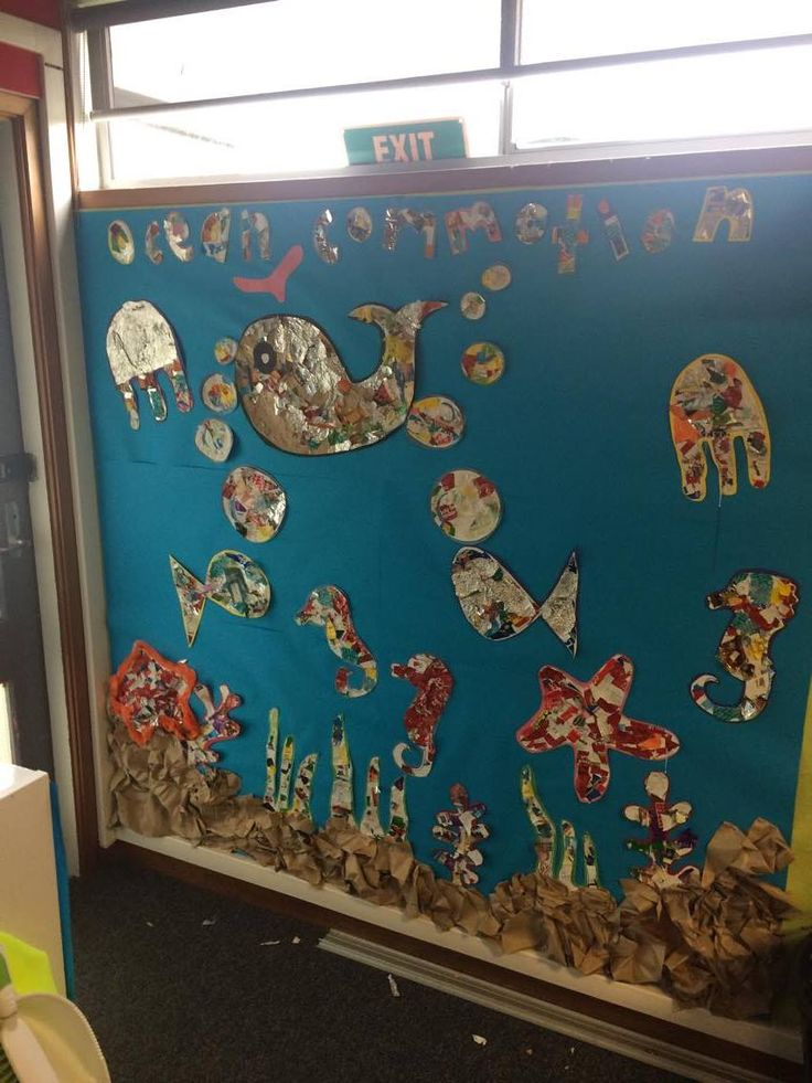 Awesome Ocean Commotion wall display made from rubbish collected around the school grounds.