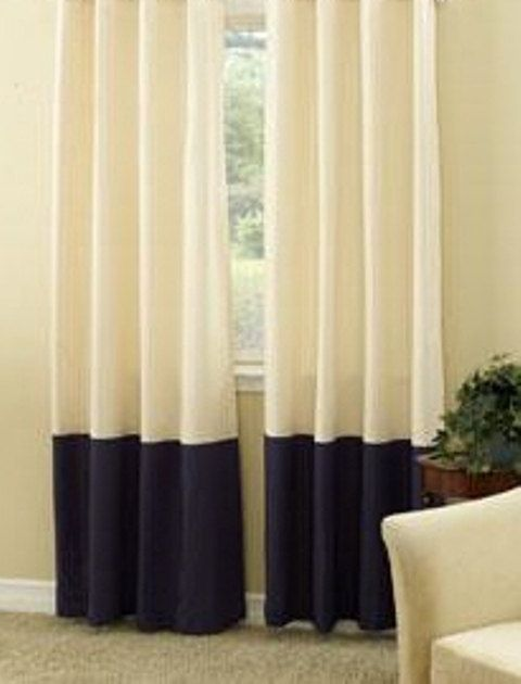 Extra long Pair of color block linen curtain panels UNLINED, Euro Linen, 52 x 120 inches, WHITE BLACK