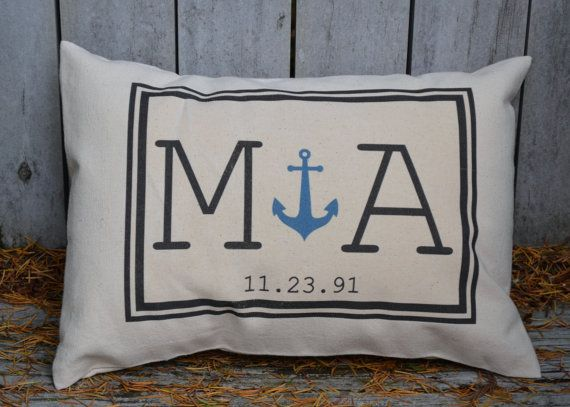 Personalized Couples gift, Anchor pillow, valentine gift idea, monogram pillow, wedding, with date. Cotton anniversary, gift for her on Etsy, $29.00