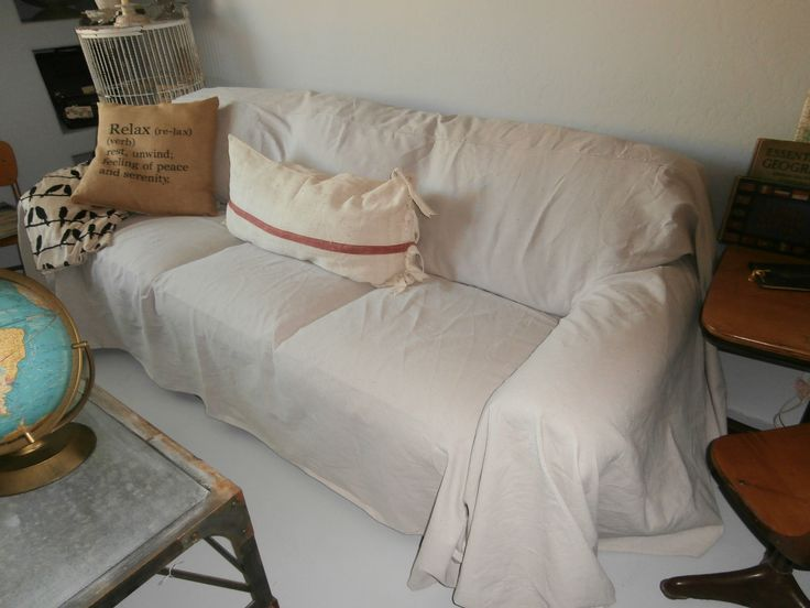 Painters drop cloth sofa slipcover From Me My Home to Yours