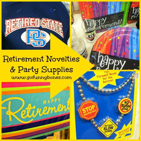 A fun collection of retirement novelties including hats, beads, mugs, glasses and so much more! A full line of party decorations and supplies for retirement celebrations. — at Funny Bones Party Superstore.