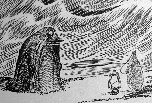 THE GROKE...Tove Jansson    The Groke is very alone and very cold. She searches constantly for warmth. She sat down on a bonfire once, and put it out.