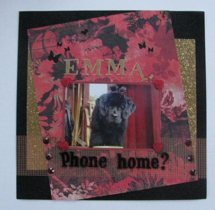 "Scrapbook page ""Emma, phone home?""                      #dog #doggy #puppy #love #ET #pigtails #gold #glitter #phonehome #bling #xoxo"