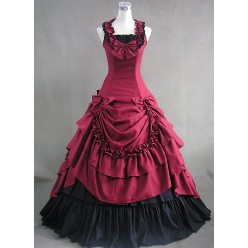Great site for theatre costumes. Red and Black Pleated Multi-layered  Bowknot Ornament Collar Sleeveless Gothic Prom Dress Lolita Cosplay Costumes .
