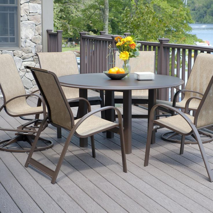 Telescope Casual Primera 6 Person Sling Patio Dining Set With Stacking  Chairs   Kona