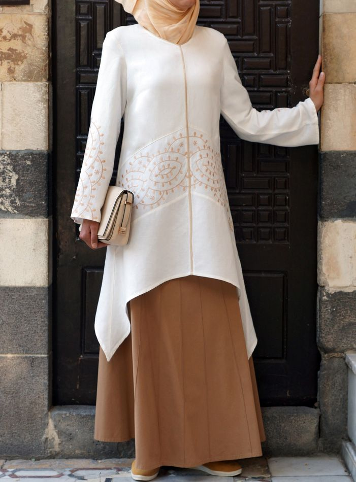 Pair with a skirt for an elegant Eid look. Soreya Embroidered Tunic from Shukr Islamic Clothing
