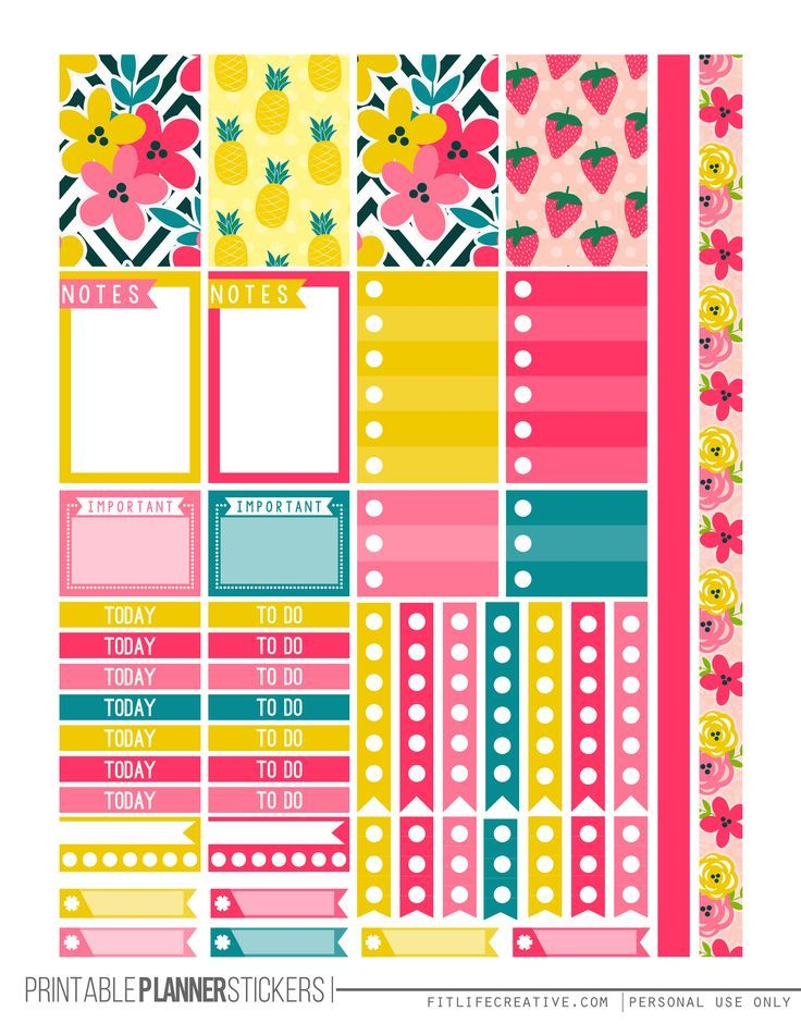 Tropical summer free printable planner stickers for the for Planner casa online gratis