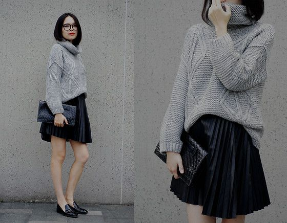via LookBook love this look! The ratio of slouch to bare leg is perfect...