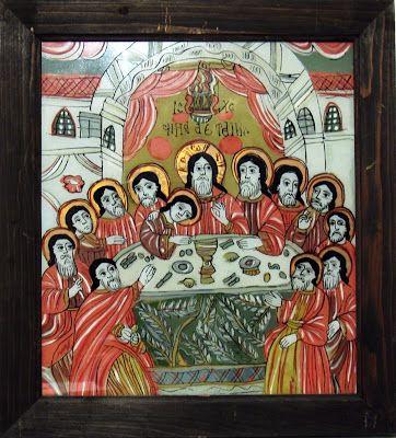 Cina cea de taină, icoană pe sticlă, 38,5x43,5 cm - Atelierul de arhitectură Liliana Chiaburu: ortodoxie