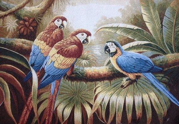 Parrots Pillow Cover Decorative Pillow Cover by PoppyVintageCorner
