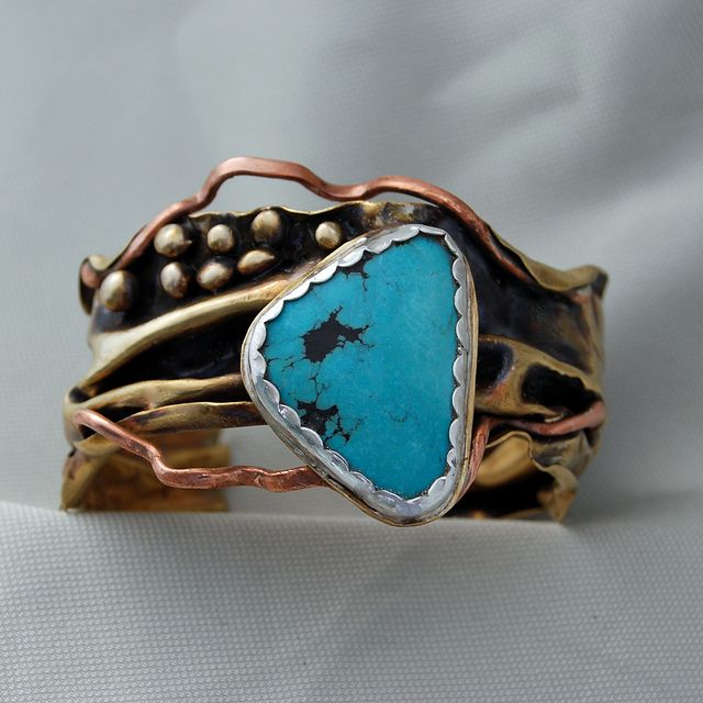 Cuff | Cyndie Smith.  Turquoise, sterling silver, copper and brass.