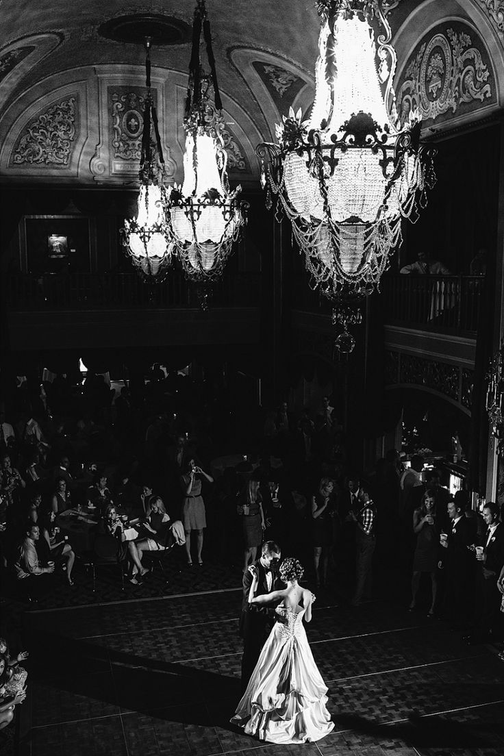 LOVE this first dance picture! Beautiful venue!! Orpheum Theatre wedding in Sioux City Iowa // Carissa and Brian | David Grube Photography http://www.david-grube.com