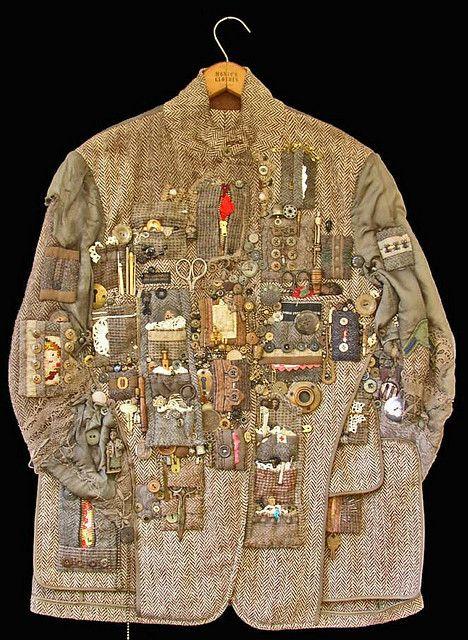 (Treasure) Hunting JacketDiane Savona. Wonderful deconstructed and multi-media clothes as art.  http://www.flickr.com/photos/dianesavona/4093487875/