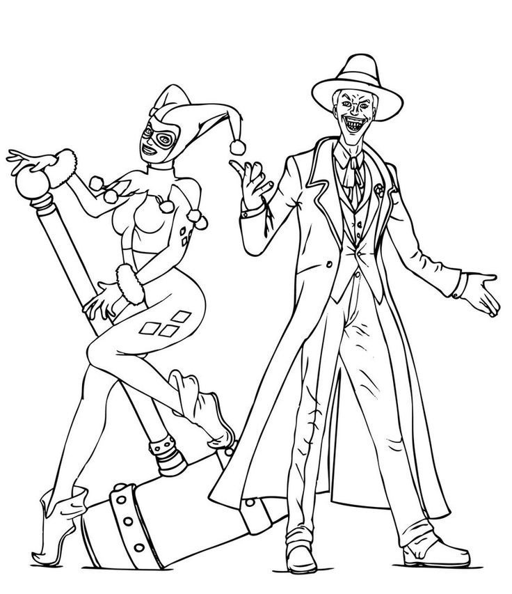 Poison Ivy Coloring Pages Adult Joker And Harley