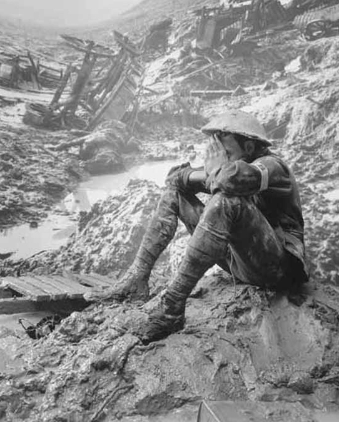 After being in combat the soldier reflects on the destruction that surrounds him.  'Lifting distressful hands' - Wilfred Owen http://www.badasscontent.com/bijbelsherdenken