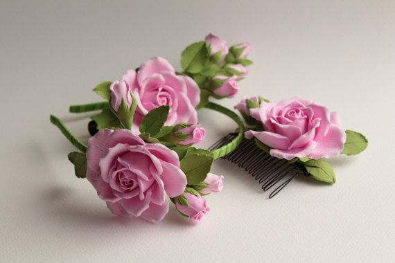 Make to order. Hair alice band polymer clay flower. Pink rose with buds