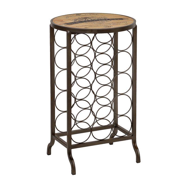 Chardonnay Wood And Metal Wine Rack Table Wine Rack